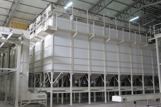 Storage plants for short-cut pasta, couscous and granular products